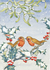 Postcard Molly Brett | Robins With Mistletoe And Holly _