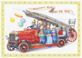Postcard Audrey Tarrant | Fire Engine With Squirrel Firemen With Presents _