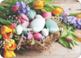 Postcard - Easter basket and flowers_