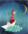 L'Atelier de Papier Aquarupella Postcard   Moon_